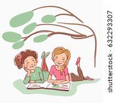 cute girls reading a book under ... | Shutterstock .eps vector #632293307