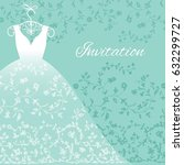 wedding dress with floral lace... | Shutterstock .eps vector #632299727