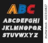 cool alphabet  retro alphabet ... | Shutterstock .eps vector #632310827