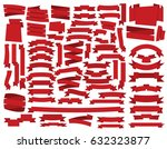 vector red ribbons set | Shutterstock .eps vector #632323877