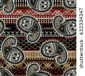 traditional paisley ornament.... | Shutterstock .eps vector #632334347