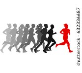 set of silhouettes. runners on... | Shutterstock . vector #632336687