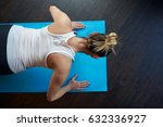 fit middle aged woman doing... | Shutterstock . vector #632336927