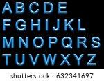 alphabet neon printed | Shutterstock . vector #632341697
