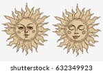 hand drawn sun with face... | Shutterstock .eps vector #632349923