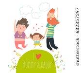 joyful family is jumping. dad...   Shutterstock .eps vector #632357297