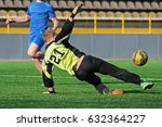 goalkeeper jumping to catching... | Shutterstock . vector #632364227