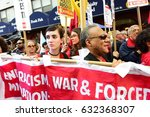 Small photo of NEW YORK CITY - MAY 1 2017: Marches & rallies in support of labor, healthcare & immigrants throughout Lower Manhattan. Larry Holmes of People's Power Assemblies