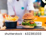 the hamburgers shop uses... | Shutterstock . vector #632381033