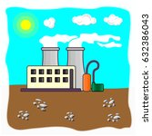 flat design factory landscape.... | Shutterstock .eps vector #632386043