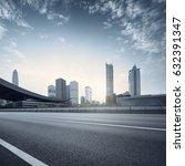 empty asphalt road of a modern...   Shutterstock . vector #632391347