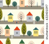 cute houses  fox and autumn... | Shutterstock .eps vector #632401097