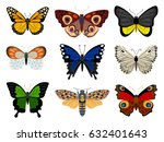 collection of butterflies | Shutterstock .eps vector #632401643