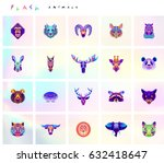 set of animal icons. abstract... | Shutterstock .eps vector #632418647