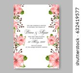 pink rose wedding invitation... | Shutterstock .eps vector #632419577