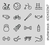 exercise icons set. set of 16
