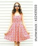 fashion pretty young woman... | Shutterstock . vector #632435033