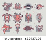 set of fish icons. abstract...   Shutterstock .eps vector #632437103