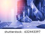 double exposure businessman and ... | Shutterstock . vector #632443397