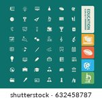 education icon set clean vector | Shutterstock .eps vector #632458787