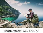 tourist with a map in the... | Shutterstock . vector #632470877