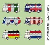 set of retro minibuses | Shutterstock .eps vector #632491043