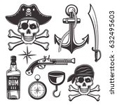 pirates attributes set of... | Shutterstock .eps vector #632495603