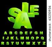 green 3d alphabet. vector set. | Shutterstock .eps vector #63250936