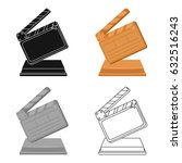 gold clapperboard on stand... | Shutterstock .eps vector #632516243