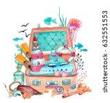 watercolor nautical elements... | Shutterstock . vector #632551553