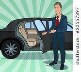 driver waiting near black... | Shutterstock .eps vector #632557397