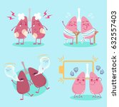 cute cartoon lungs feel pain on ... | Shutterstock .eps vector #632557403