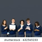 group of diverse students using ... | Shutterstock . vector #632565233