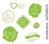 set of organic food labels. eco ... | Shutterstock .eps vector #632568413