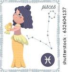 zodiac sign pisces. funny... | Shutterstock .eps vector #632604137