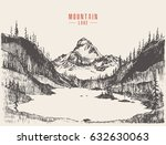beautiful hand drawn mountain... | Shutterstock .eps vector #632630063