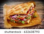 delicious turkish doner kebab... | Shutterstock . vector #632638793