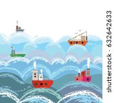 sea and ships cartoon... | Shutterstock .eps vector #632642633