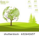 green globe on the tree. tree... | Shutterstock .eps vector #632642657