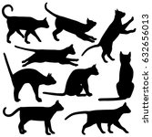 black and white cat silhouettes ... | Shutterstock .eps vector #632656013