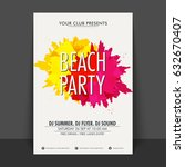 beach party flyer  template or... | Shutterstock .eps vector #632670407