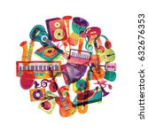 colorful music background.... | Shutterstock .eps vector #632676353