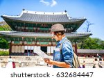 young woman tourist with map in ... | Shutterstock . vector #632684447