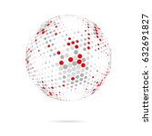 abstract dotted sphere.... | Shutterstock .eps vector #632691827