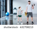 boy training with dumbbells... | Shutterstock . vector #632708213