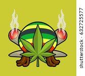 rasta logo. cannabis leaf and... | Shutterstock . vector #632725577
