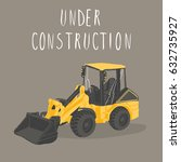 yellow tractor vector. under... | Shutterstock .eps vector #632735927