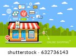 internet shopping concept. e... | Shutterstock .eps vector #632736143