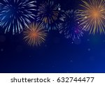brightly colorful fireworks on... | Shutterstock .eps vector #632744477