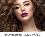 beautiful brunette girl in move ...   Shutterstock . vector #632749763